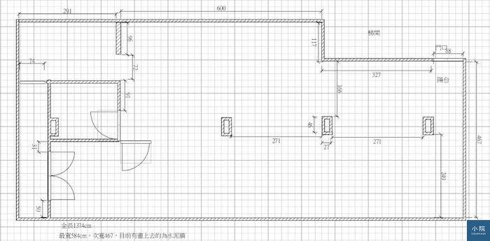 小尤更改網友平面圖before只有前後有陽光進入、左中那個是目前的廁所