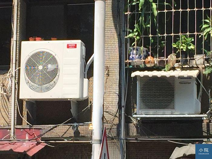 冷室室外機有遮與沒遮