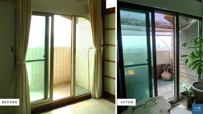 我家原本鋁門窗是是銀灰金屬色,後來改成深棕色。