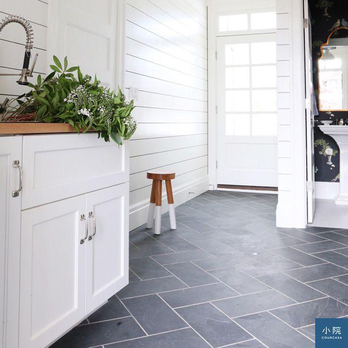 Dark Slate Floors White Walls : 灰色磁磚地,搭出好風格 | courcasa 小院