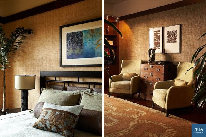 藤面質感壁紙,不僅在古典英式風格經常運用,也容易用來襯托東方的禪味。圖片來源:WILLMAN INTERIORS