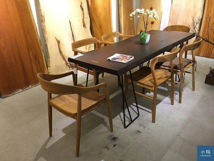 非洲鐵刀木,L200*W72~75*桌板厚5.5 cm,定價47500元,含TF-I-07黑鐵桌腳