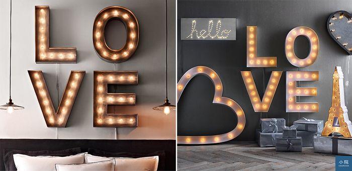 可選字母的工業風燈飾,每顆字優惠價149美元;巴黎鐵塔造型燈飾,優惠價198.99美元。圖片來源:RH