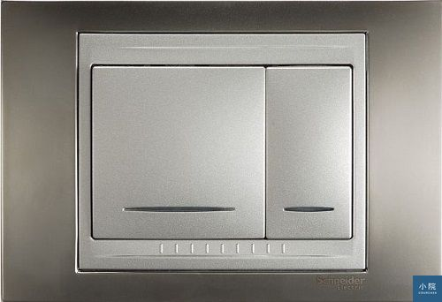 Unica系列開關,雙切可配一大一小按鈕,方便分辨主燈次燈開關