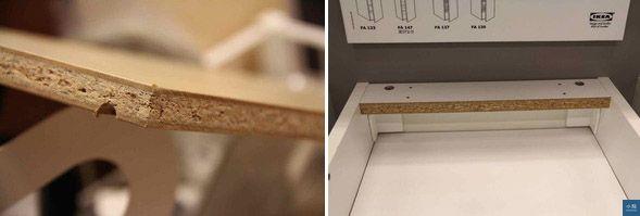 姥姥在IKEA賣場拍到的板材斷面,左為櫃子層板,右為廚具櫃體,都是粒片板,而不是IKEA網站寫的密集板。