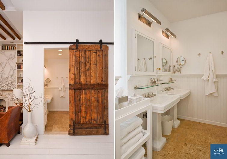 紐約公寓,白色,單面採光,穀倉大門,軟木地板