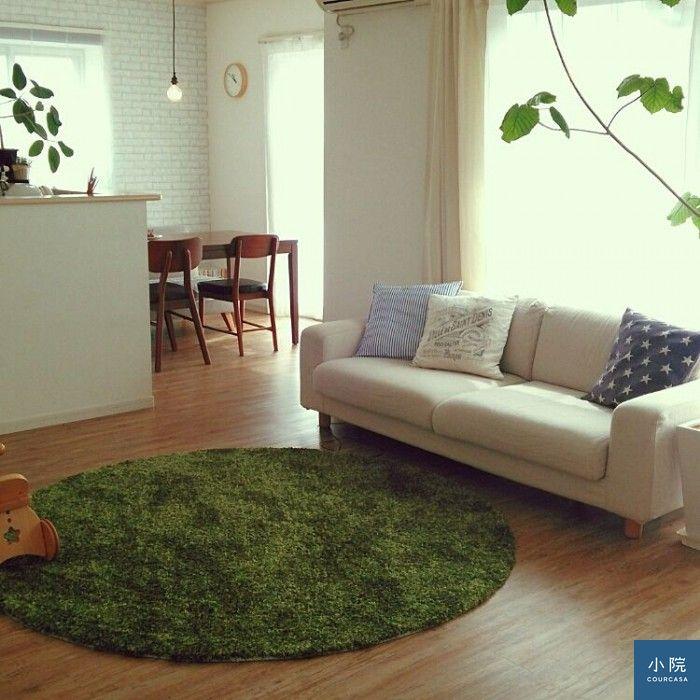 也是MUJI出品的草綠色圓形地毯,很適合春天