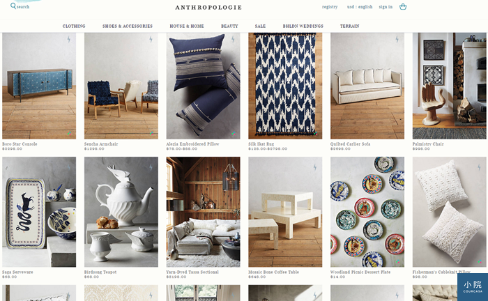 圖為美國網站ANTHROPOLOGIE的家居區House & Home,部分商品可直接運至台灣