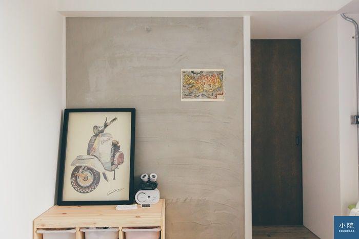 臥室單面牆,也用摻了樂土ˇ的水泥粉光