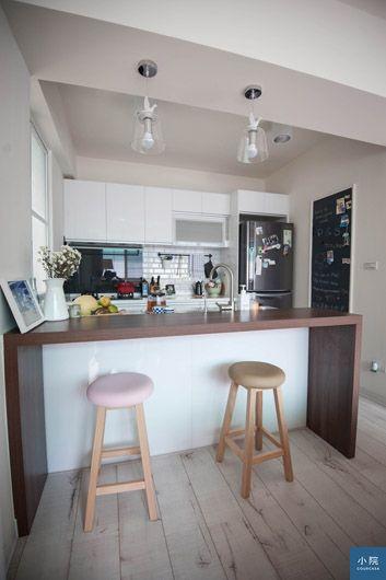 改造後的廚房,變成開放空間,明亮又時尚。
