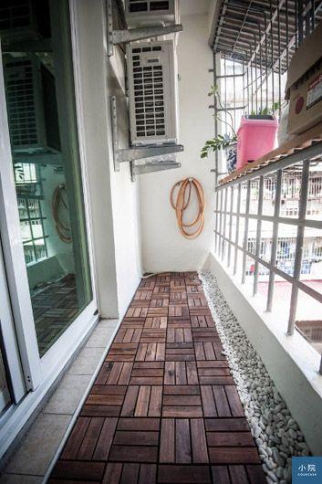 陽台AFTER:重新粉刷後,自己鋪IKEA的RUNNEN戶外拼接地板,以及三分鵝卵石,簡單好看。)