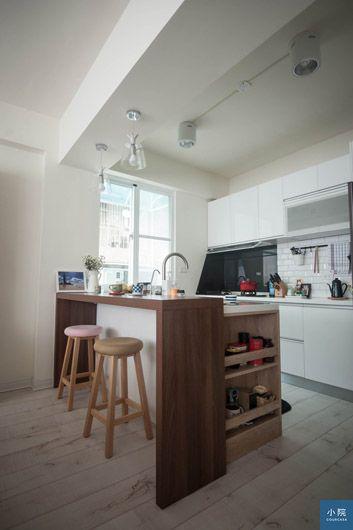 廚具系統,桶身為Egger塑合板,門片為白色水晶門片。)