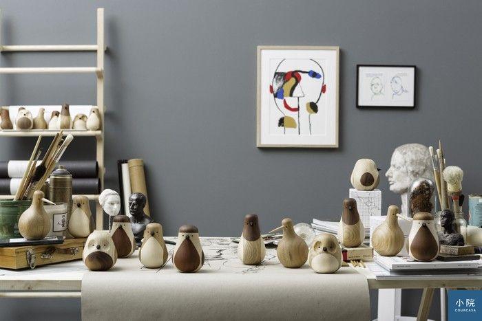 (挪威設計師Lars Beller Fjetland設計,以實木拼接的各式鳥類Turned Birds。)