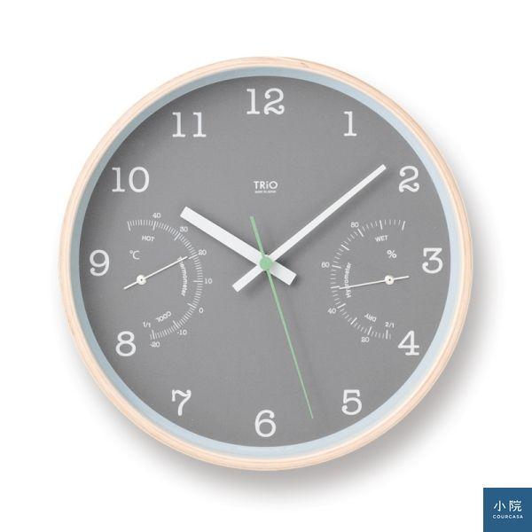 溫濕度計木質圓形時鐘(PC10-22),鐘面有灰白二款,定價3360元,小院專案價2688元。